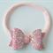 Pink Glitter bow headband, Baby hair bow, Nylon headband